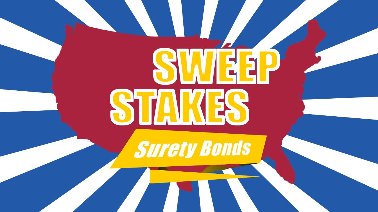 A graphic of the United States with sweep stakes surety banner