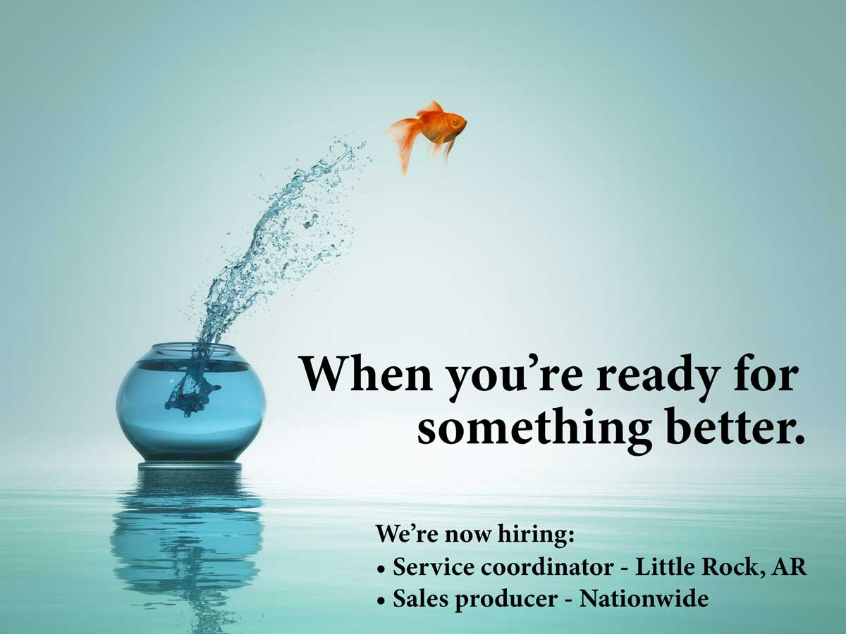 goldfish jumping out of bowl into open water with caption when you're ready for something better we're now hiring service coordinator in little rock arkansas and sales producer nationwide